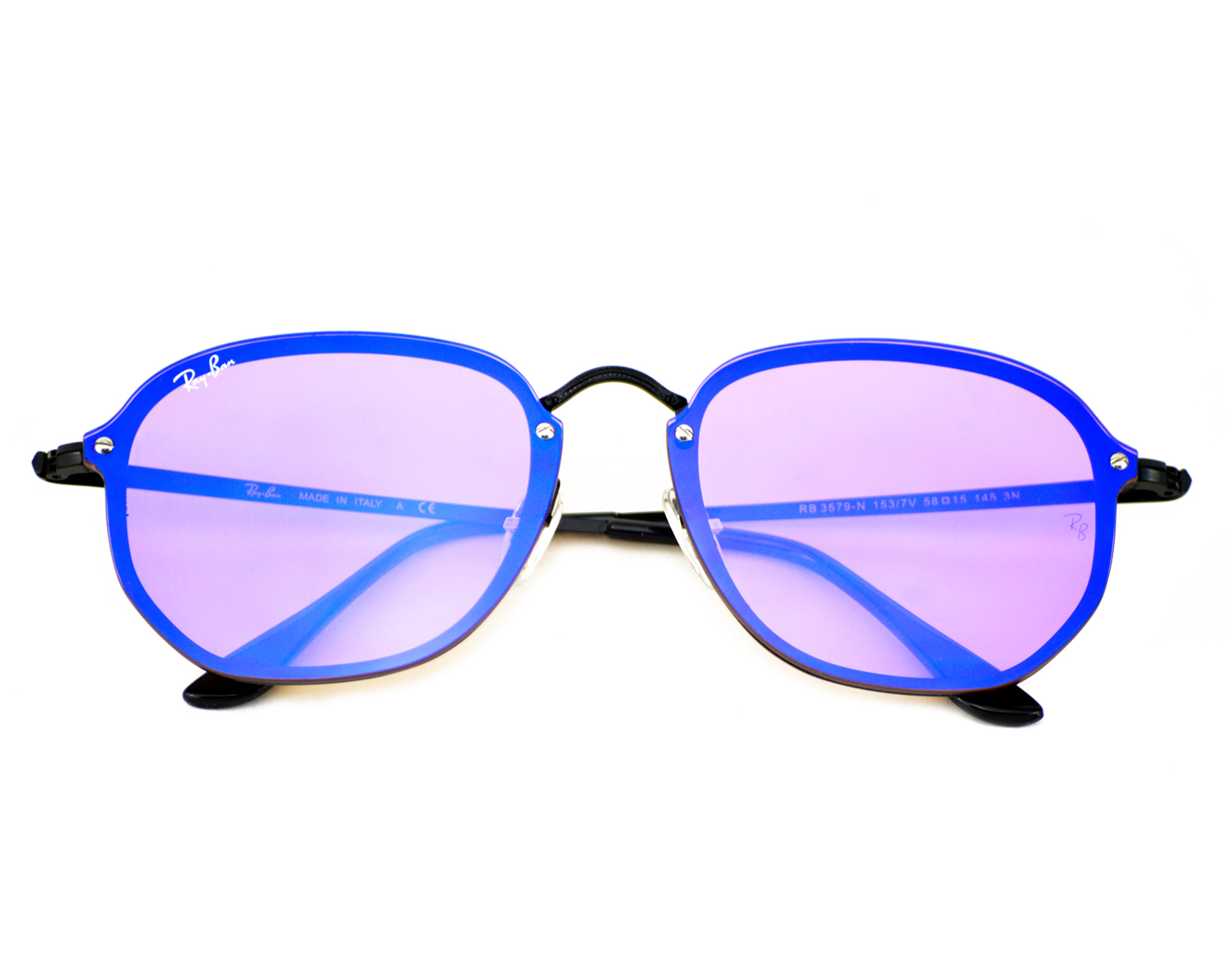 f80d14fc65 Ray-Ban RB3579N Blaze Hexagonal 153 7V Black Frame Violet Blue Mirror  Lenses Unisex Sunglasses 58mm