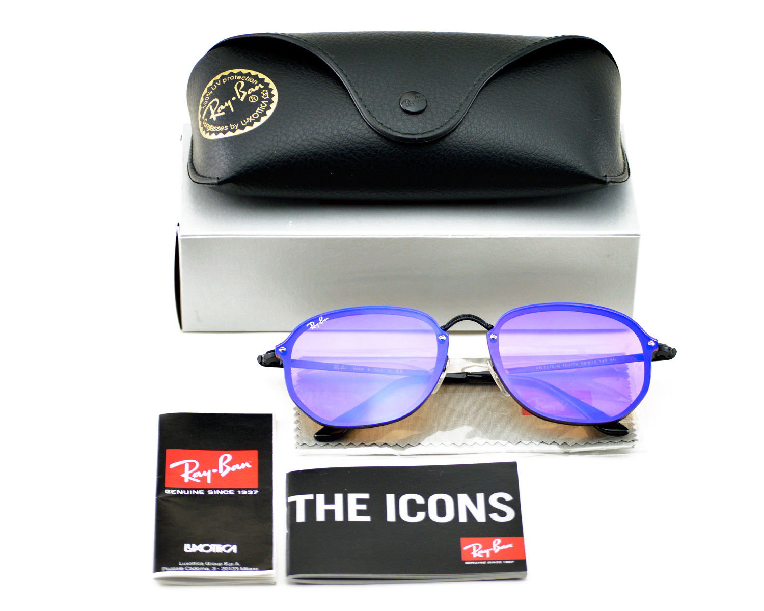 eb8023101d6 Ray-Ban RB3579N Blaze Hexagonal 153 7V Black Frame Violet Blue Mirror  Lenses Unisex Sunglasses 58mm