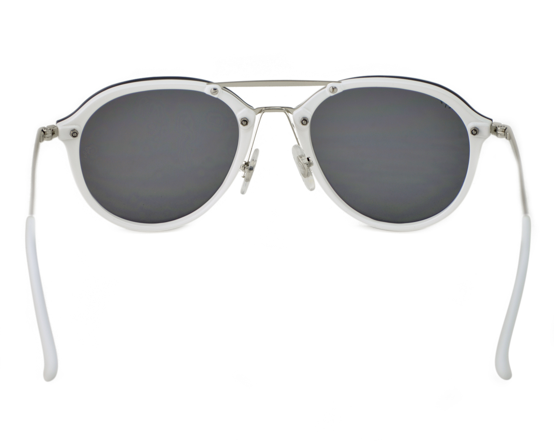 6b97b12527 Ray-Ban RB4292N Blaze Double Bridge 671 30 White Silver Frame Dark Green  Silver Mirror Lenses Unisex Sunglasses 62mm