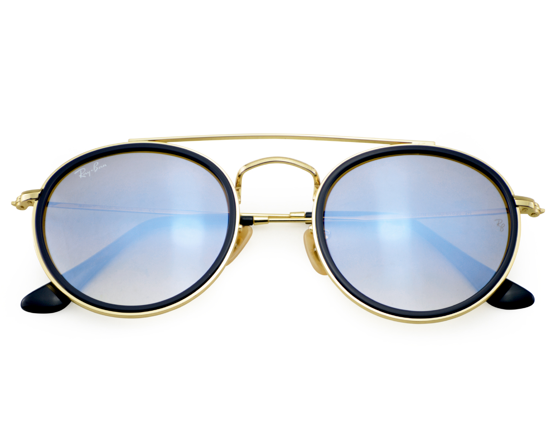 5c14f72f087513 Ray-Ban RB3647N RB3647N Round Double Bridge 001 9U Gold Frame Silver  Gradient Flash Lenses Unisex Sunglasses 51mm