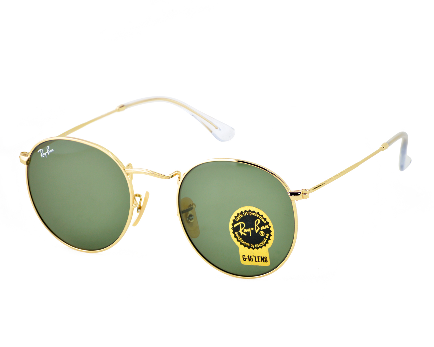 0e723a585cc Ray-Ban RB3447 Round Metal 001 Gold Frame  Green Classic G-15 Lens  Sunglasses 50mm