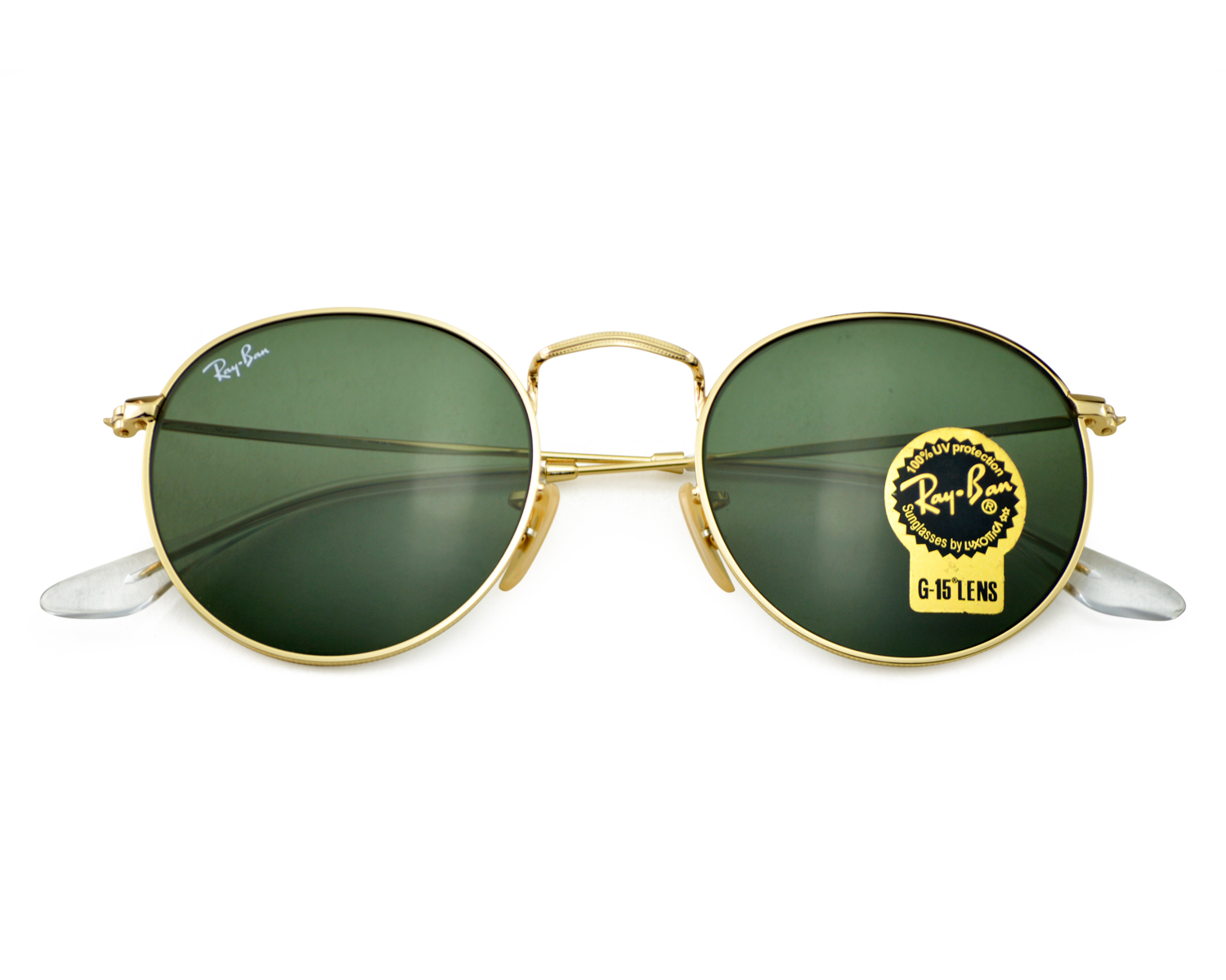 4fed2a5430 Ray-Ban RB3447 Round Metal 001 Gold Frame  Green Classic G-15 Lens  Sunglasses 50mm