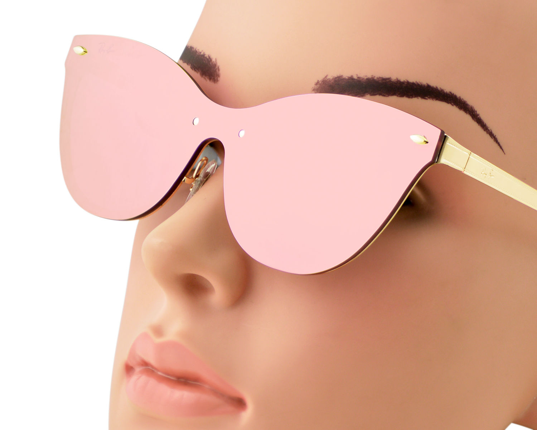 feba323b37 Ray-Ban RB3580N Blaze Cat Eye 043 E4 Gold Frame Pink Mirror Lenses Unisex  Sunglasses 43mm