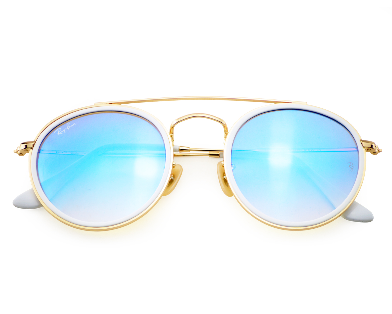 Ray Ban Rb3647n Round Double Bridge 001 4o Gold Frame Blue