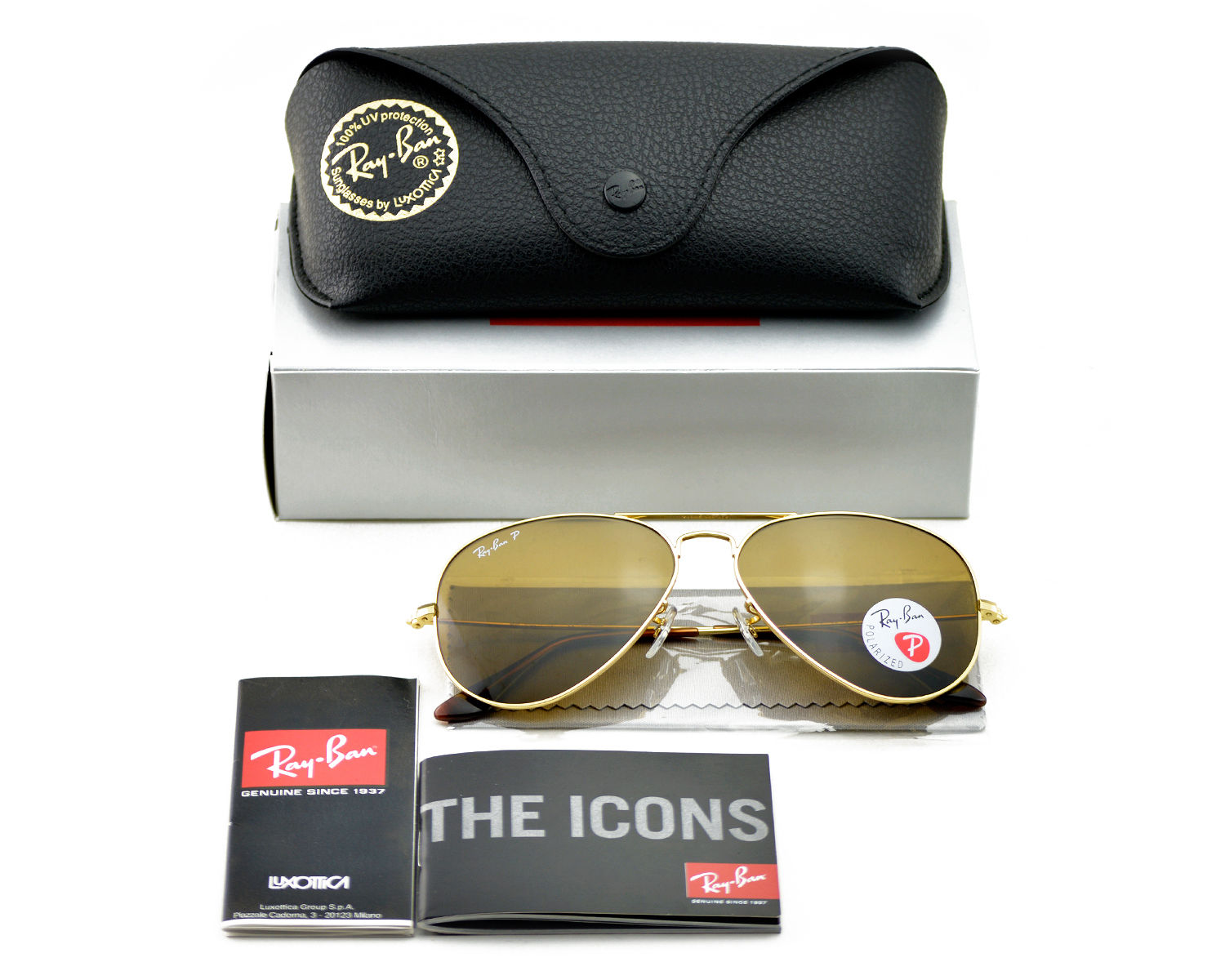 58cb34363d Ray-Ban RB3025 Aviator Classic 001 57 Gold Frame Polarized Brown Classic B-15  Lenses Unisex Sunglasses 58mm