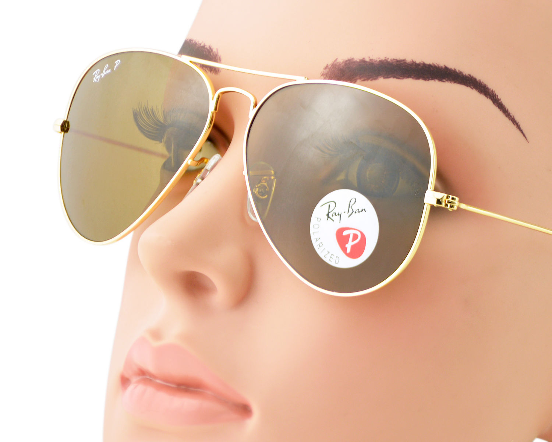 Ray-Ban RB3025 Aviator Classic 001/57 Gold Frame/Polarized Brown Classic  B-15 Lenses Unisex Sunglasses 58mm