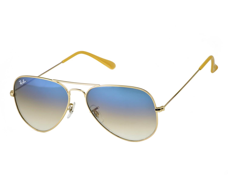 4ae0b2f3ddc6 Ray-Ban RB3025 Aviator Gradient 001 3F Gold Frame Light Blue Gradient  Lenses Unisex Sunglasses 58mm