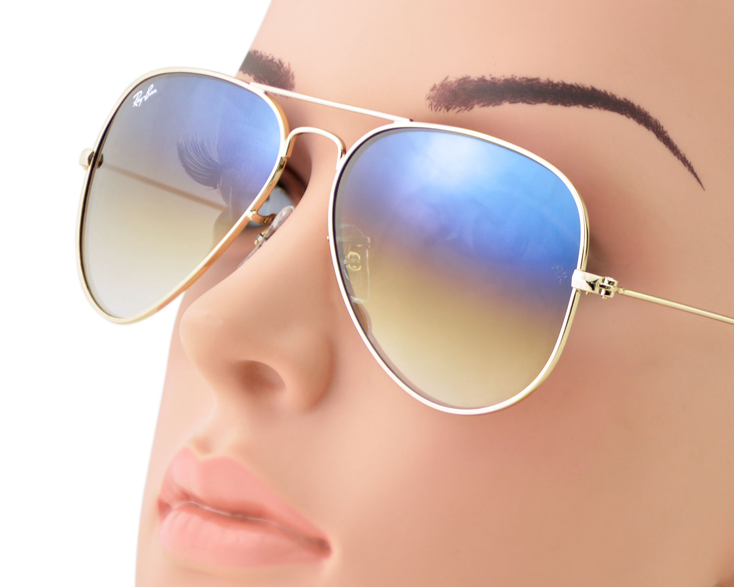 2eccfd6dde86 Ray-Ban RB3025 Aviator Gradient 001 3F Gold Frame Light Blue Gradient Lenses  Unisex Sunglasses 58mm