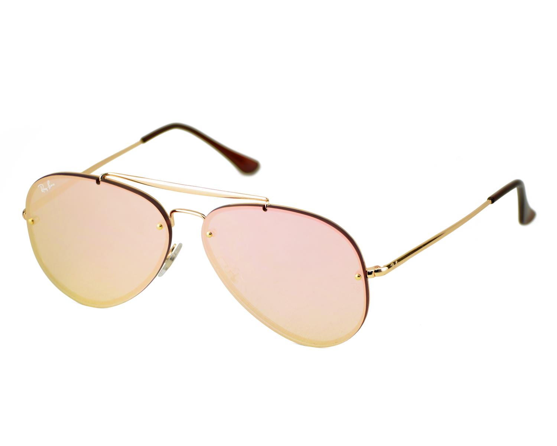 7b655529449 Ray-Ban RB3584N Blaze Aviator 9052 E4 Gold Frame Pink Mirror Lenses Unisex  Sunglasses 58mm