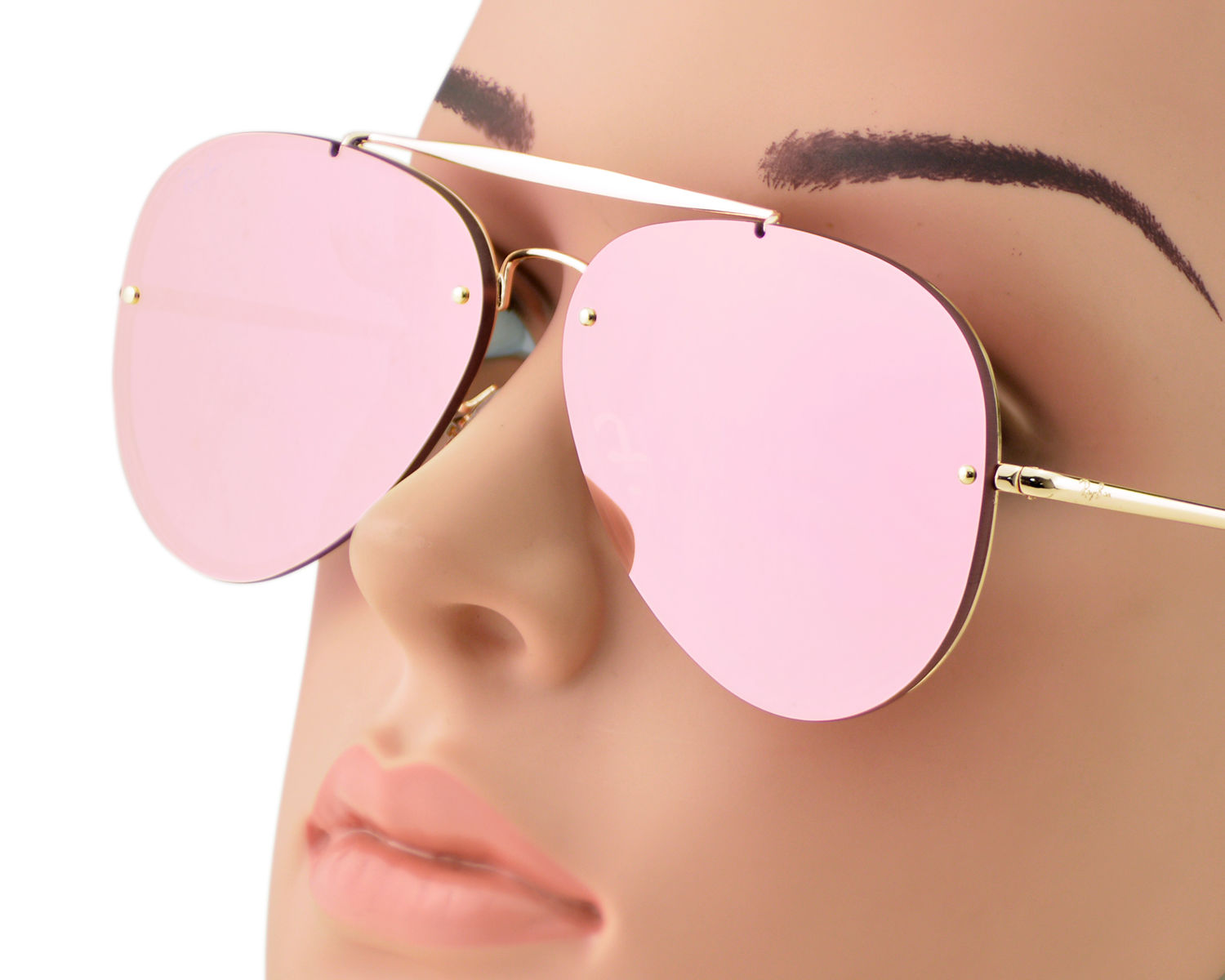 Ray-Ban RB3584N Blaze Aviator 9052 E4 Gold Frame Pink Mirror Lenses Unisex  Sunglasses 58mm aec2294e661d