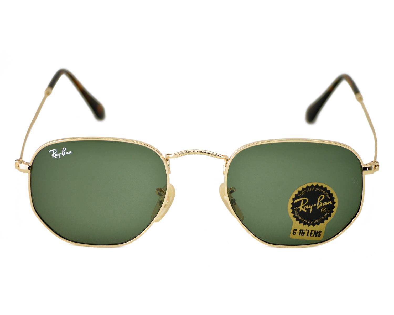 b906a7e6984 Ray-Ban RB3548N Hexagonal Flat Lenses 001 Gold Frame Green Classic G-15  Lenses Unisex Sunglasses 51mm