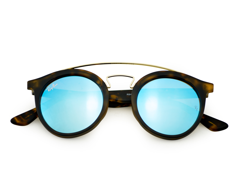 7f750272fe5 Ray-Ban RB4256-F GATSBY I 6092 55 Tortoise Gold Tortoise Frame Blue Mirror  Lenses Unisex Sunglasses 46mm