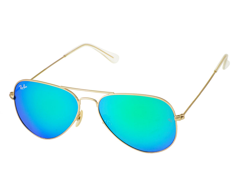 0cbba92d7d Ray Ban RB 3025 Aviator Flash Lenses 112 19 Gold frame Green Flash Glass  Lenses Unisex Sunglasses 58mm