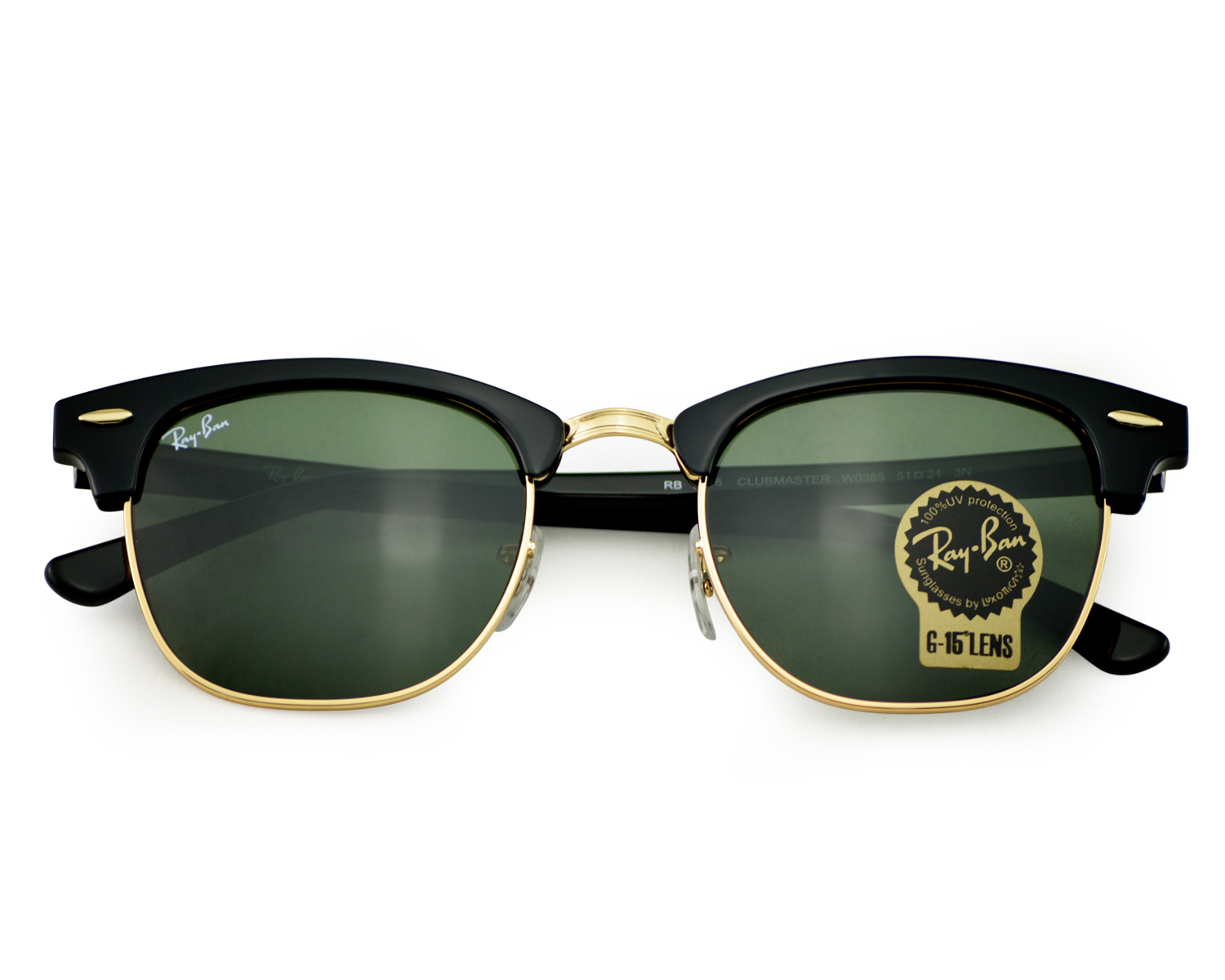 6f618ad7dde8e Ray-Ban RB3016 Clubmaster Classic W0365 Black Frame Green Classic G-15  Lenses Unisex Sunglasses 51mm