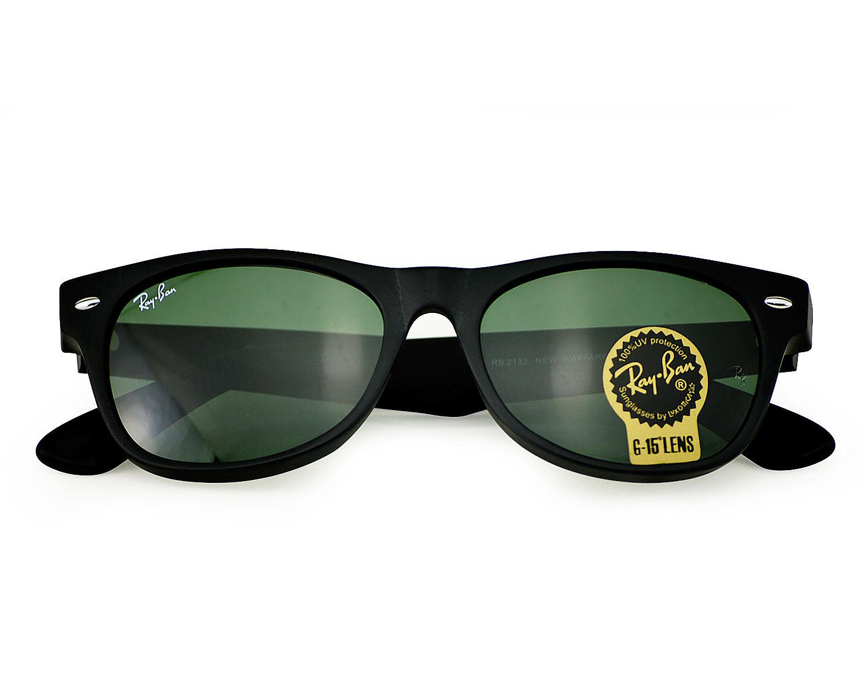e34835ad1b8 Ray-Ban RB2132 New Wayfarer Classic 622 Matte Black fame   Green Classic  G-15 Lenses Unisex Sunglasses 52mm