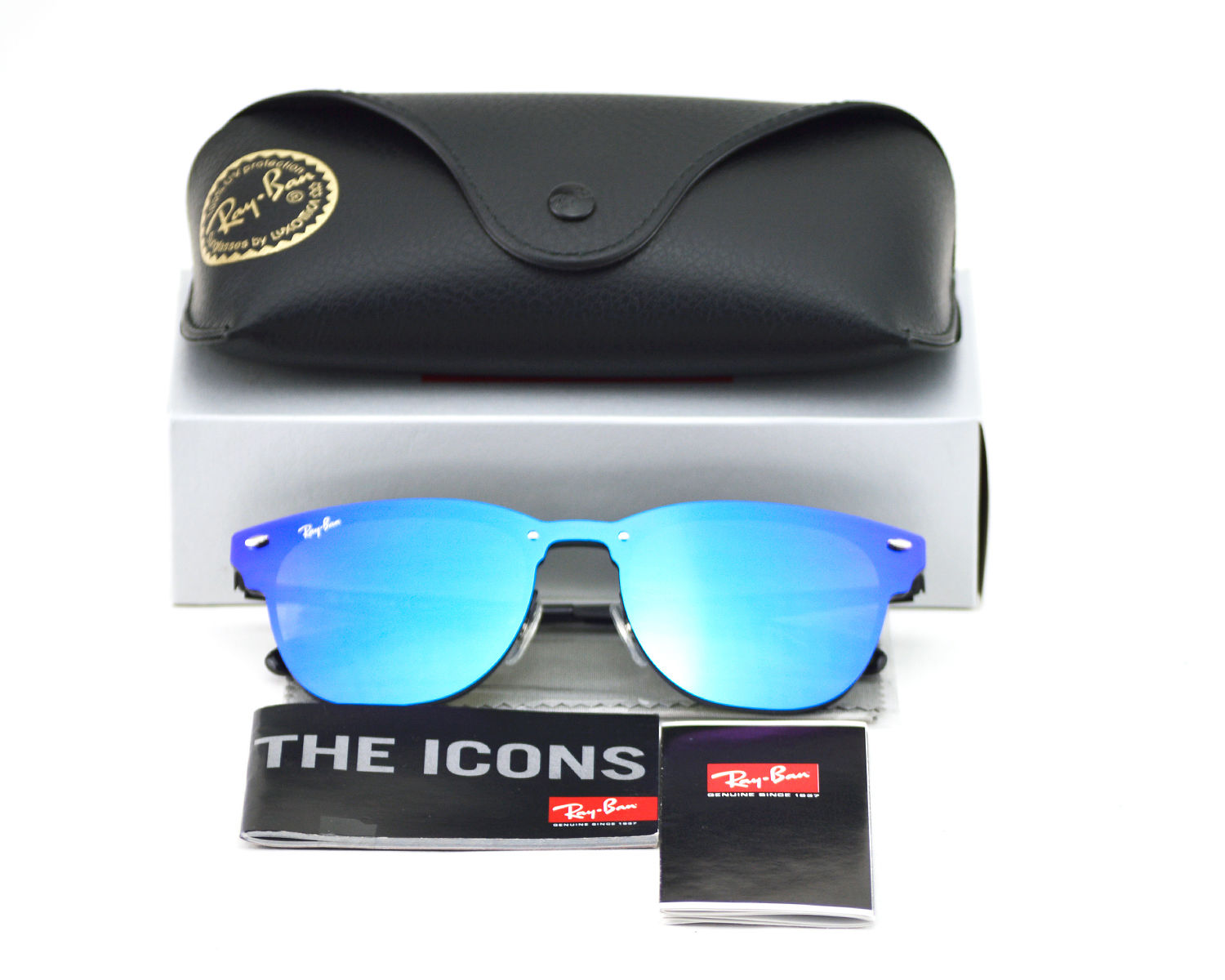 eadad14df3f Ray-Ban RB3576N Blaze Clubmaster 153 7V Black Frame Violet Blue Mirror  Lenses Unisex Sunglasses 47mm