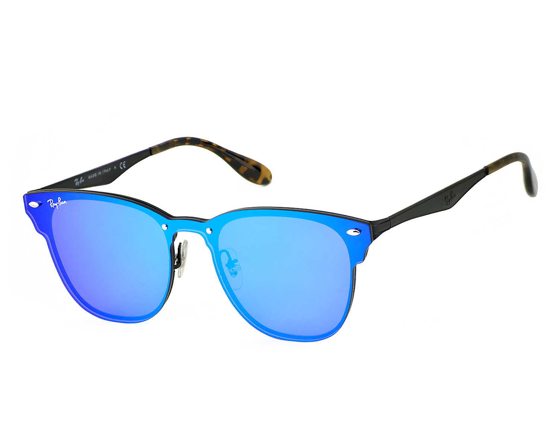 efee0dc8d28 Ray-Ban RB3576N Blaze Clubmaster 153 7V Black Frame Violet Blue Mirror  Lenses Unisex Sunglasses 47mm