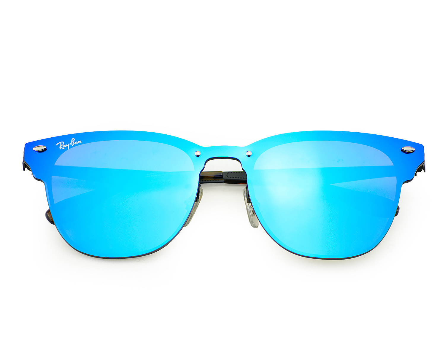 c48634e0fe Ray-Ban RB3576N Blaze Clubmaster 153 7V Black Frame Violet Blue Mirror  Lenses Unisex Sunglasses 47mm