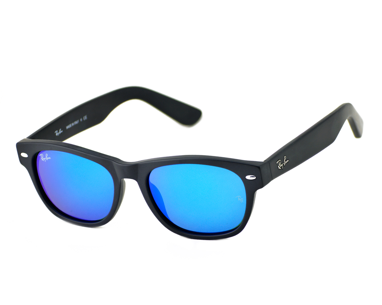 be3e735582 Ray-Ban RB2132 New Wayfarer Flash 622 17 Black  Blue Flash Lens Sunglasses  52mm