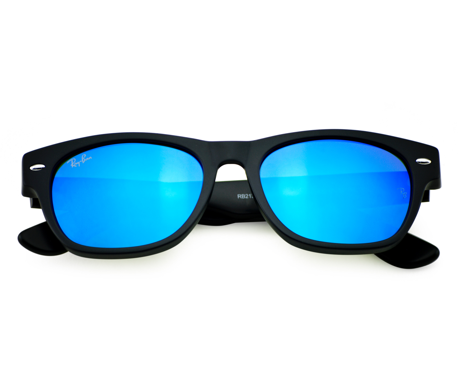 39b797a2e54 Ray-Ban RB2132 New Wayfarer Flash 622 17 Black  Blue Flash Lens Sunglasses  52mm