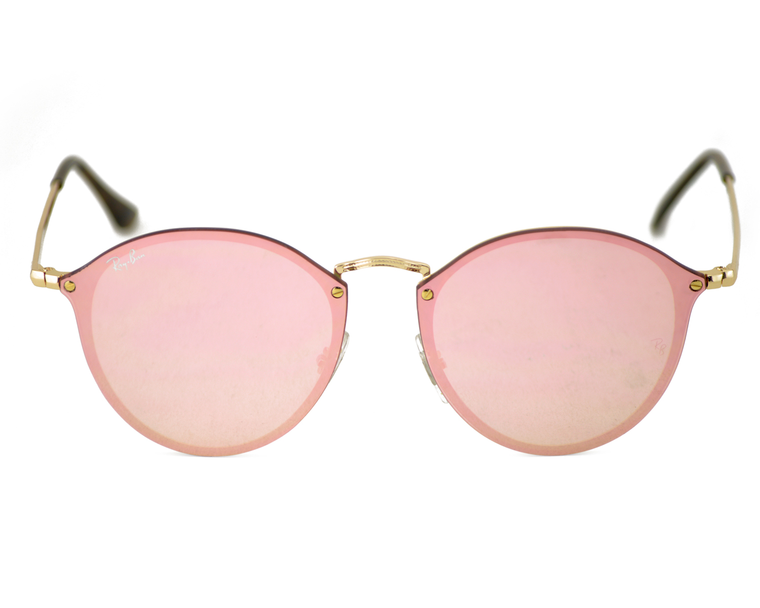 c2c1b44541 Ray-Ban RB3574N Blaze Round 001 E4 Gold Frame Pink Mirror Lenses Unisex  Sunglasses 59mm