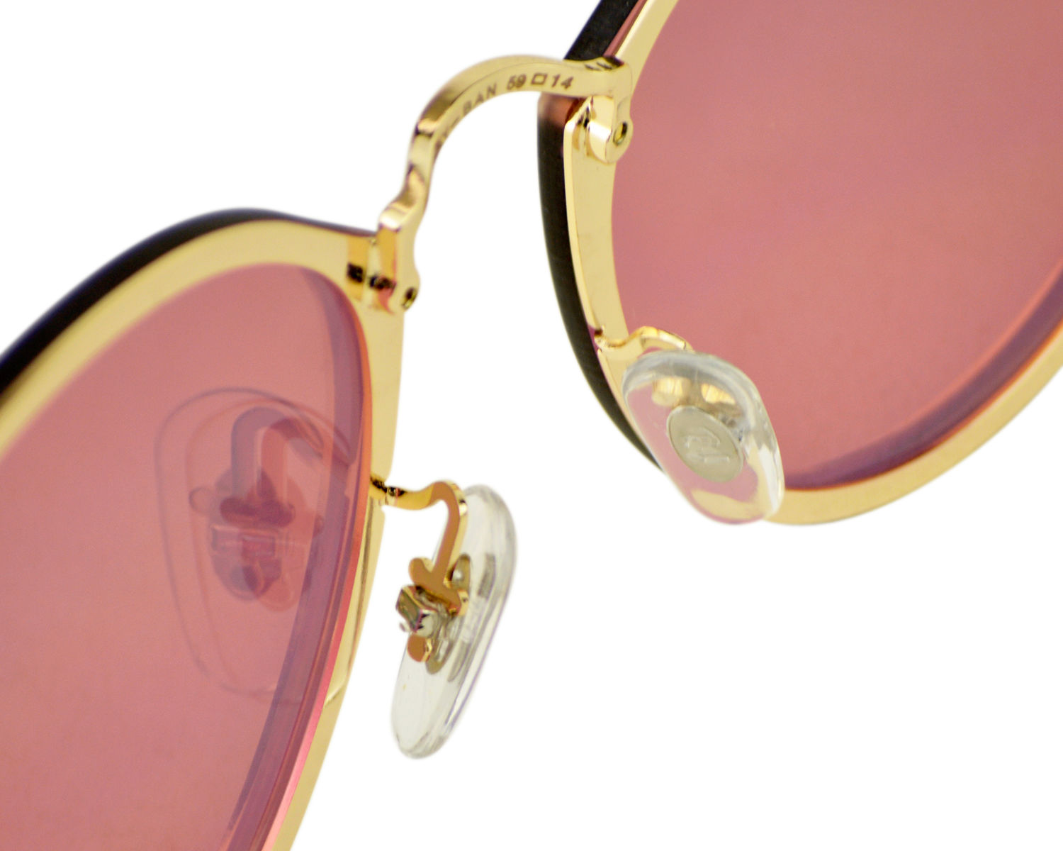 71b2fd68fd0 Ray-Ban RB3574N Blaze Round 001 E4 Gold Frame Pink Mirror Lenses Unisex  Sunglasses 59mm