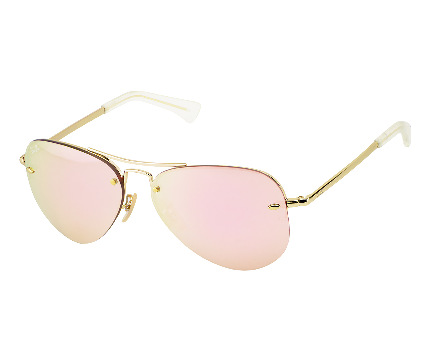 728c659b7a Ray-Ban RB3449 001 E4 Gold Frame Pink Mirror Lenses Unisex Sunglasses 58mm