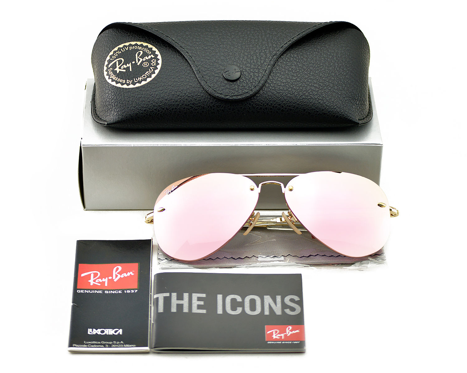 82b4672875a041 Ray-Ban RB3449 001 E4 Gold Frame Pink Mirror Lenses Unisex Sunglasses 58mm