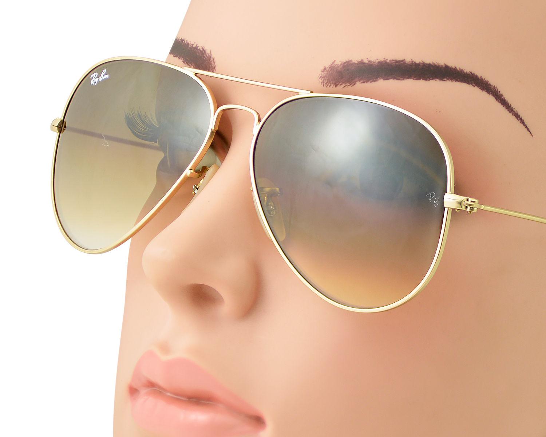53f3e58e78b Ray-Ban RB3025 Aviator Gradient 112 85 Gold Frame Brown Gradient Lenses  Unisex Sunglasses 58mm