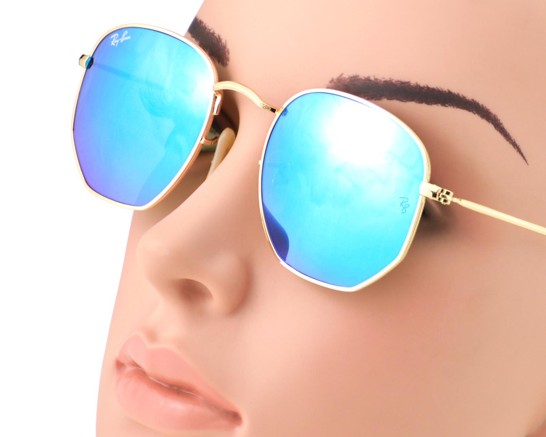 Ray-Ban RB3548N Hexagonal Flat Lenses 001 9O Gold Frame Light Blue Gradient  Flash Lenses Unisex Sunglasses 51mm 8d8ac08d51