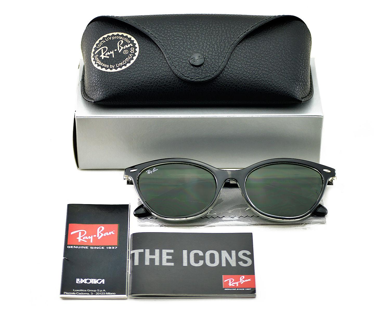 fb8bda9a609 Ray-Ban RB4360 919 71 Black Transparent Black Frame Green Classic Lenses  Unisex Sunglasses 54mm