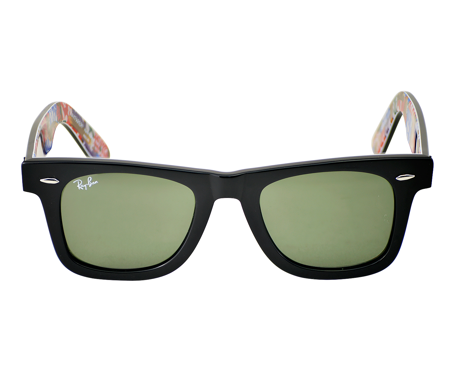 8adcd0d433 Ray Ban RB 2140 Original Wayfarer Rare Print 1136 Black multi Frame  Green  Classic G-15 Glass Lens Unisex Sunglasses 50mm