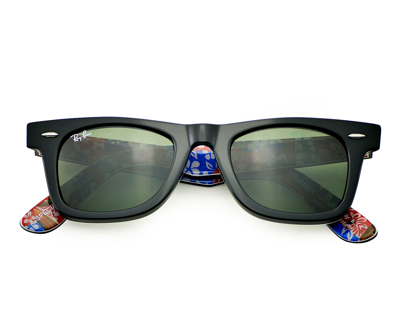 47b302633 Ray Ban RB 2140 Original Wayfarer Rare Print 1136 Black multi Frame /Green  Classic G-15 Glass Lens Unisex Sunglasses 50mm