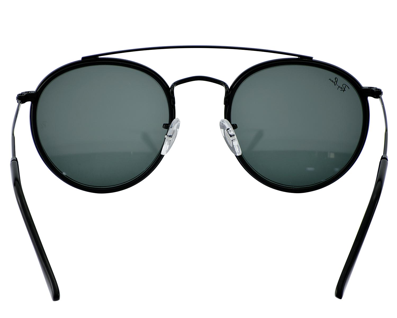a0e0588f56 Ray-Ban RB3647N Round Double Bridge 002 R5 Black Frame Blue Grey Classic  Lenses Unisex Sunglasses 51mm