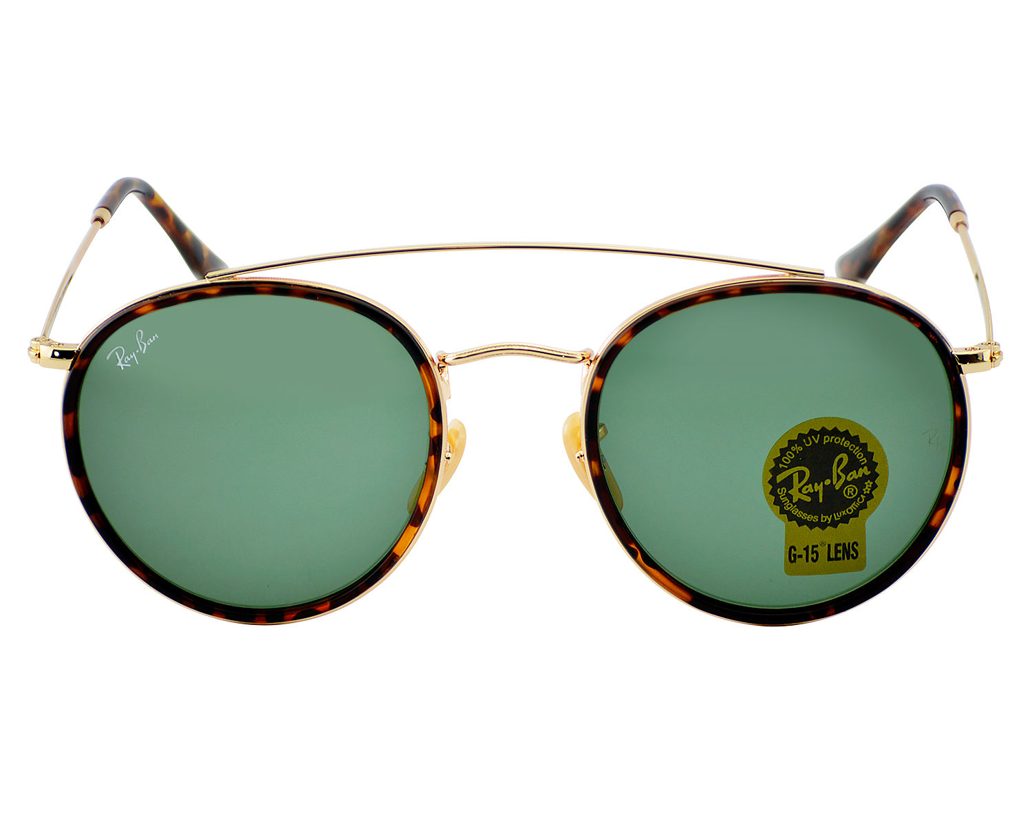 45398f0a7ea Ray-Ban RB3647N Round Double Bridge 001 Gold Frame Green Classic G-15 Lenses  Unisex Sunglasses 51mm
