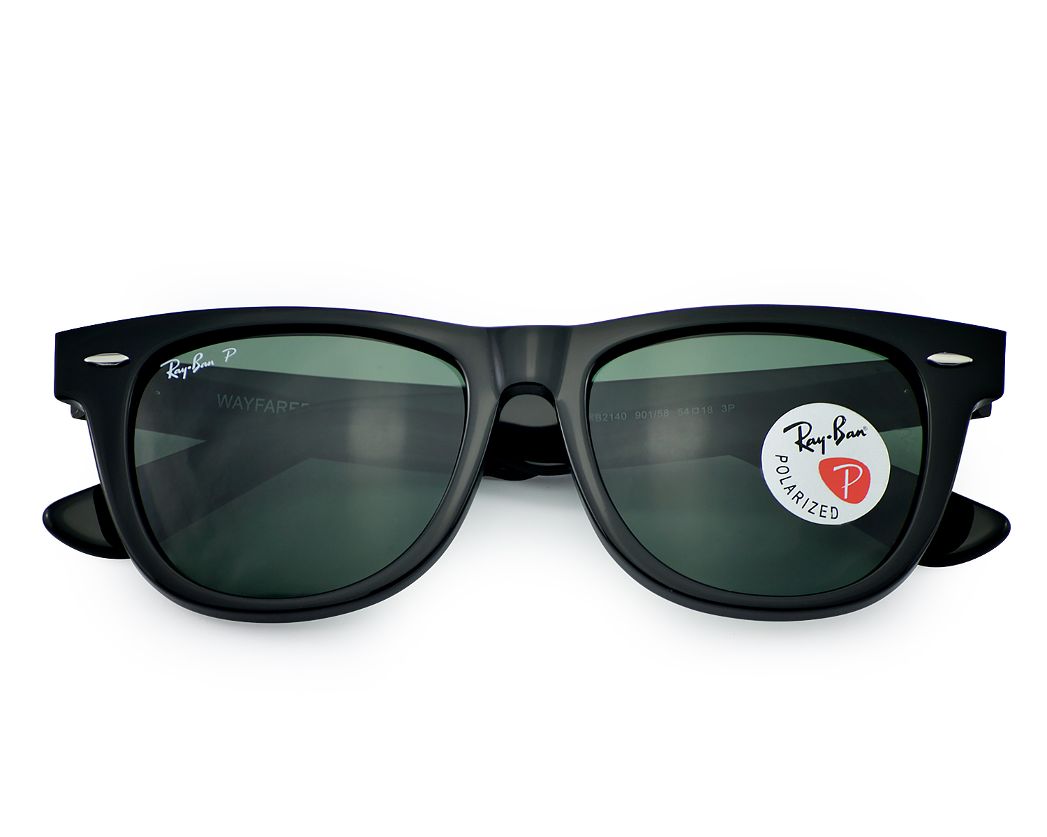 c943d32f9e9 Ray Ban RB2140 901 58 Original Wayfarer Classics Black Frame  Polarized  Green Classic G-15 lenses Sunglasses 54mm