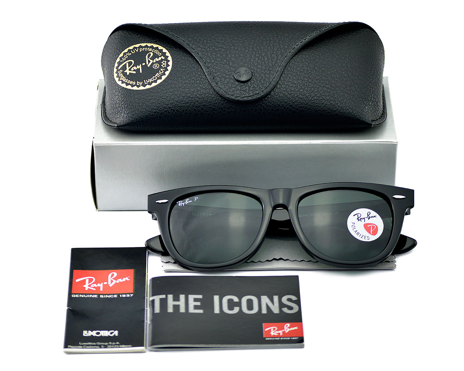 85d5b015c8 Ray Ban RB2140 901 58 Original Wayfarer Classics Black Frame  Polarized  Green Classic G-15 lenses Sunglasses 54mm