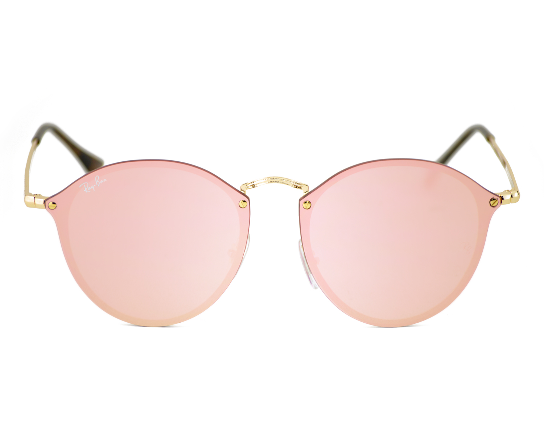 0ab63ad47345 Ray-Ban RB3574N BLAZE ROUND 001/E4 Gold, Pink Mirror Unisex Sunglasses 59mm