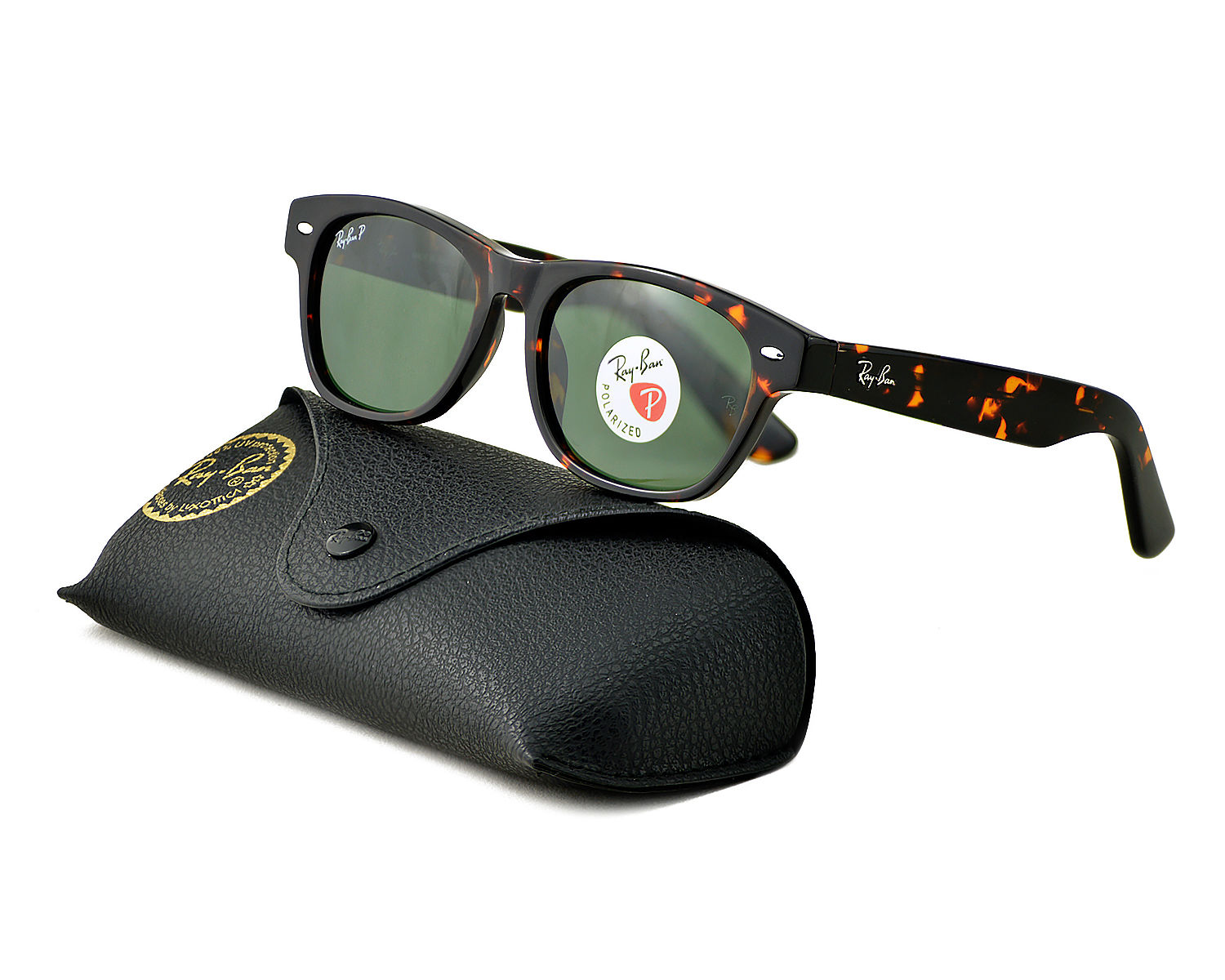 95c91992d Ray-Ban RB2132 NEW WAYFARER CLASSIC 902/58 Tortoise, Green Classic G-15  Polarized Unisex Sunglasses 52mm