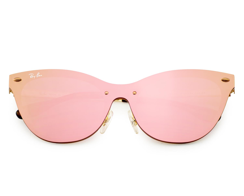 21b852ead4 Ray-Ban RB3580N Blaze Cat Eye 043 E4 Gold Frame Pink Mirror Lenses Unisex  Sunglasses 43mm