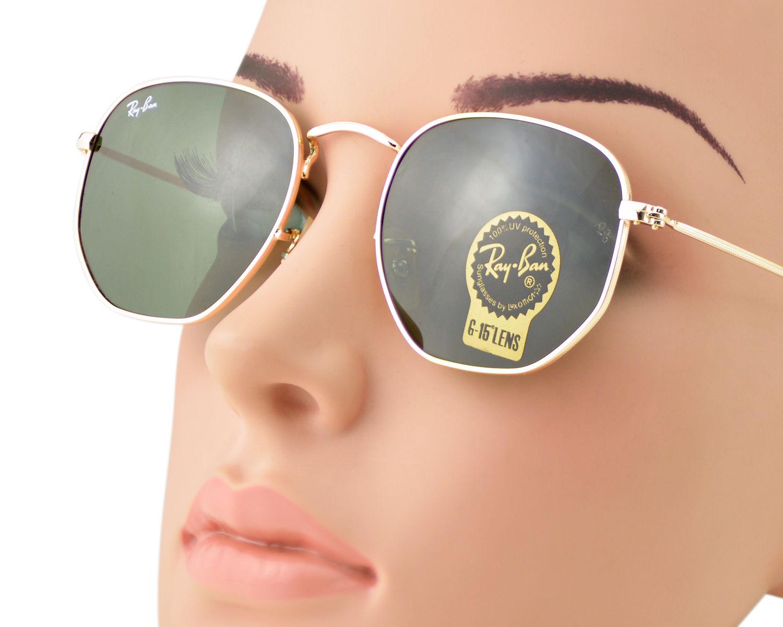 f8db2164f Ray-Ban RB3548N Hexagonal Flat Lenses 001 Gold Frame/Green Classic G-15  Lenses Unisex Sunglasses 51mm