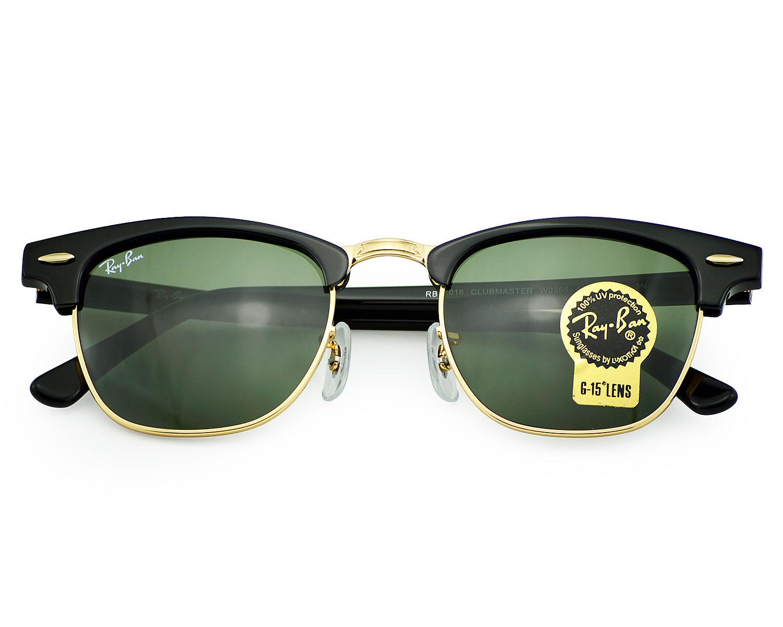 83da0637662a Ray-Ban RB3016 CLUBMASTER CLASSIC W0365 Black, Green Classic G-15 Unisex  Sunglasses 49mm