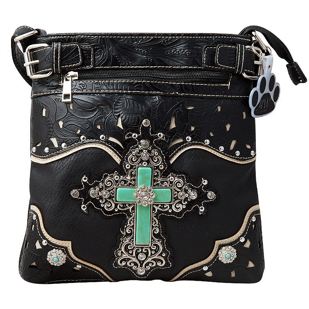 6a1d528243c3 Western Turquoise Cross Tooled Concealed Carry Crossbody Messenger Bag