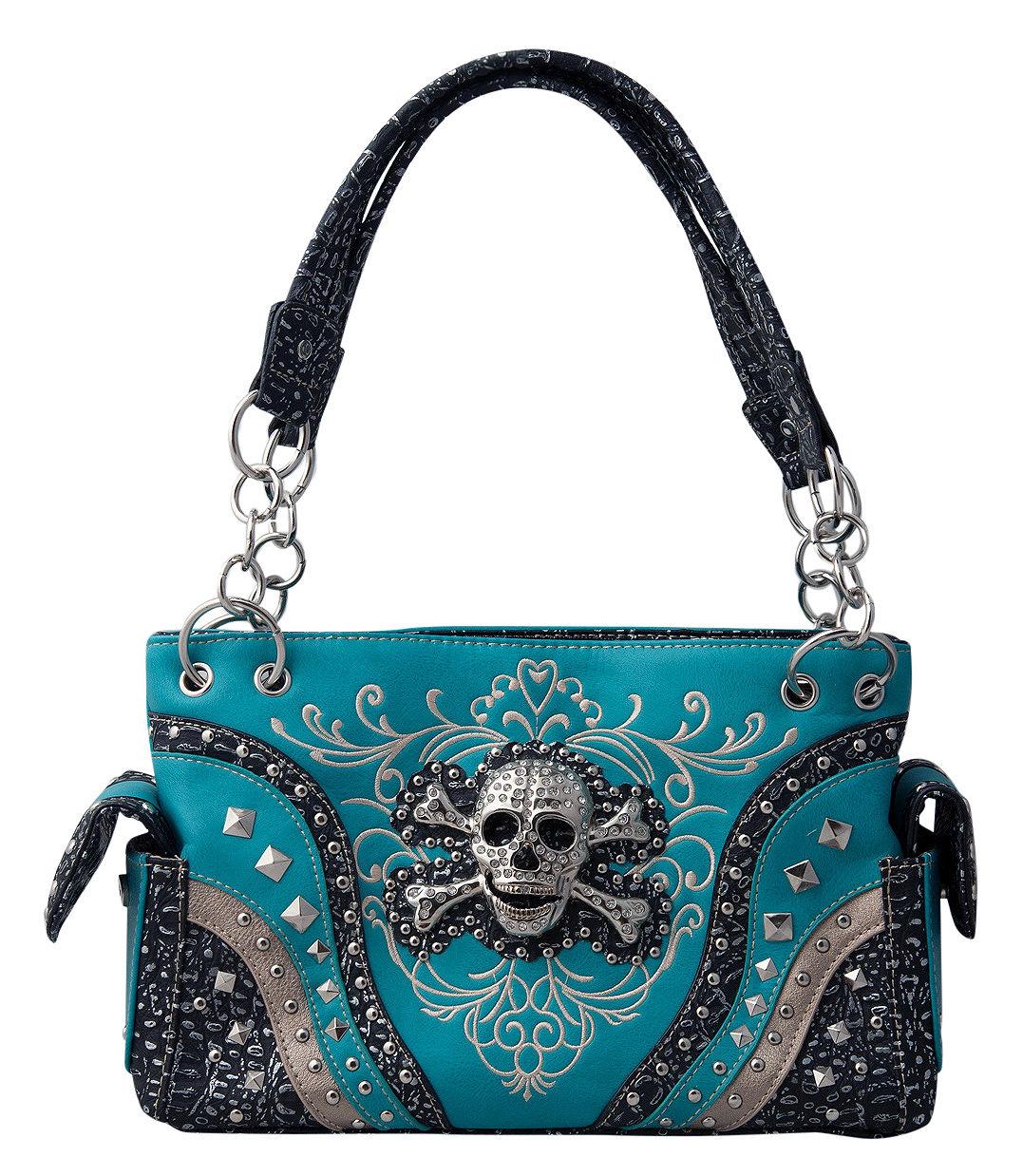 66425ad4357c Skull Studded Rhinestone Embroidered Conceal Carry Shoulder Handbag