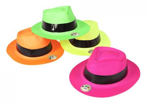 Plastic Neon Fedora Hats 891a1f5deb6