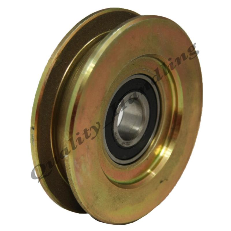 Pulley Wheel 80mm Square Groove Steel Wheel Ball Bearing