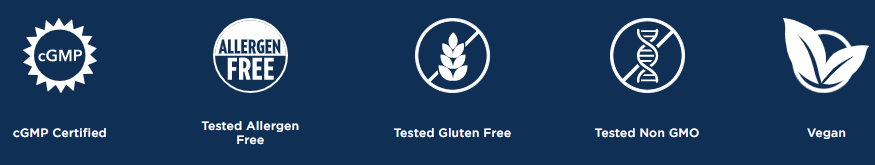 cgmp certified-tested allergen free-tested gluten free-tested non gmo-vegan