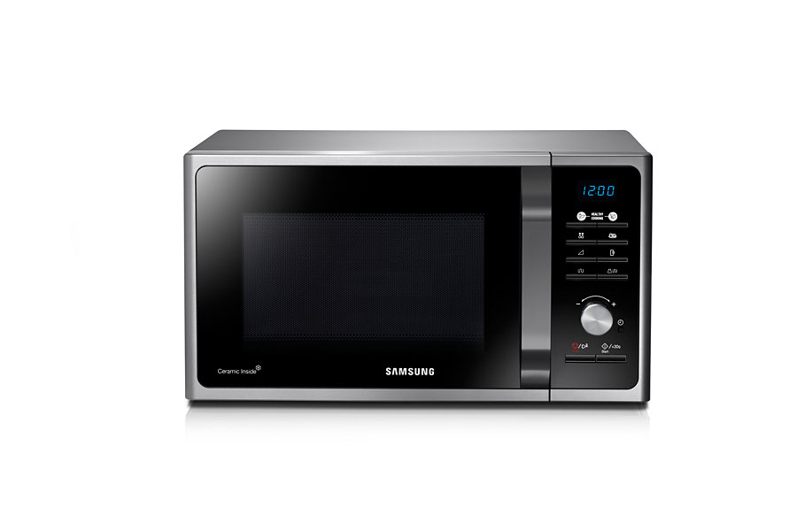 samsung 23lt 800w microwave with grill silver with black glass