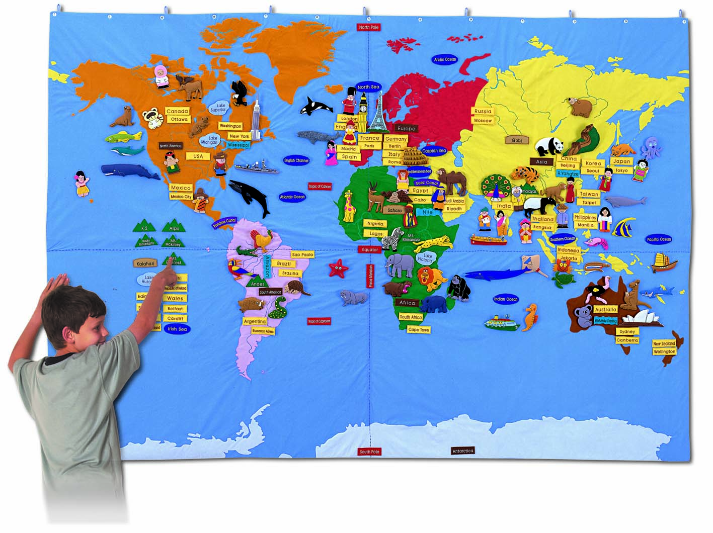 The Picture Of The World Map.Fabric World Map Giant Size
