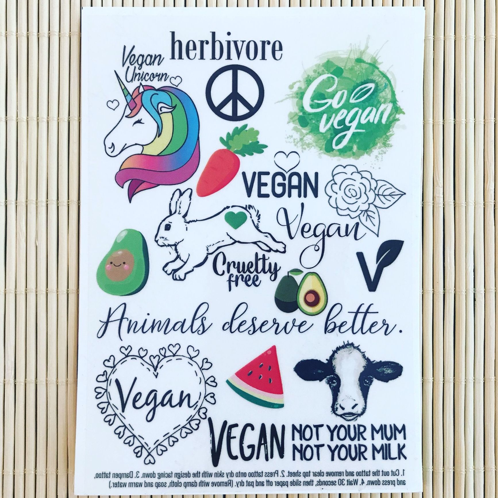 Vegan unicorn temporary tattoo set for Vegan tattoo shops near me
